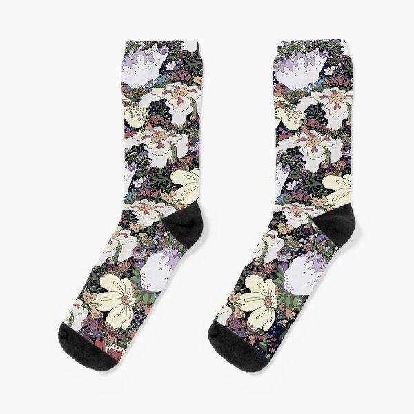 Flower Power Sophisticated Color Socks! Original Art - Every flower Here Socks