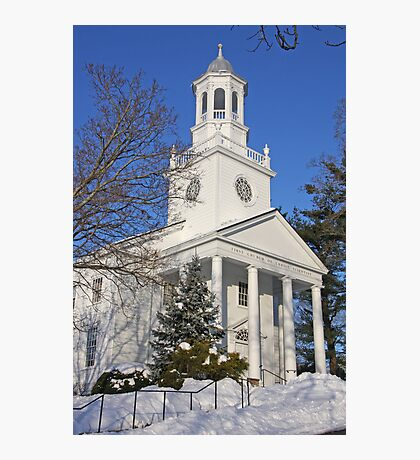 Winter White Small Town Church Photographic Print