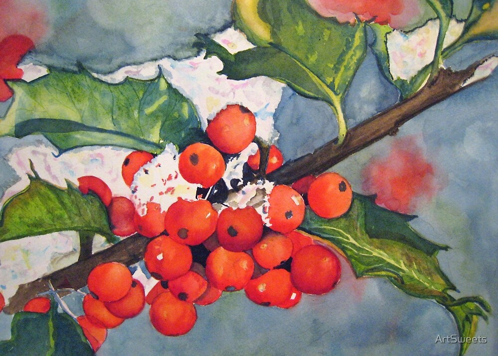 Holly Berries in the Snow by Loretta Barra