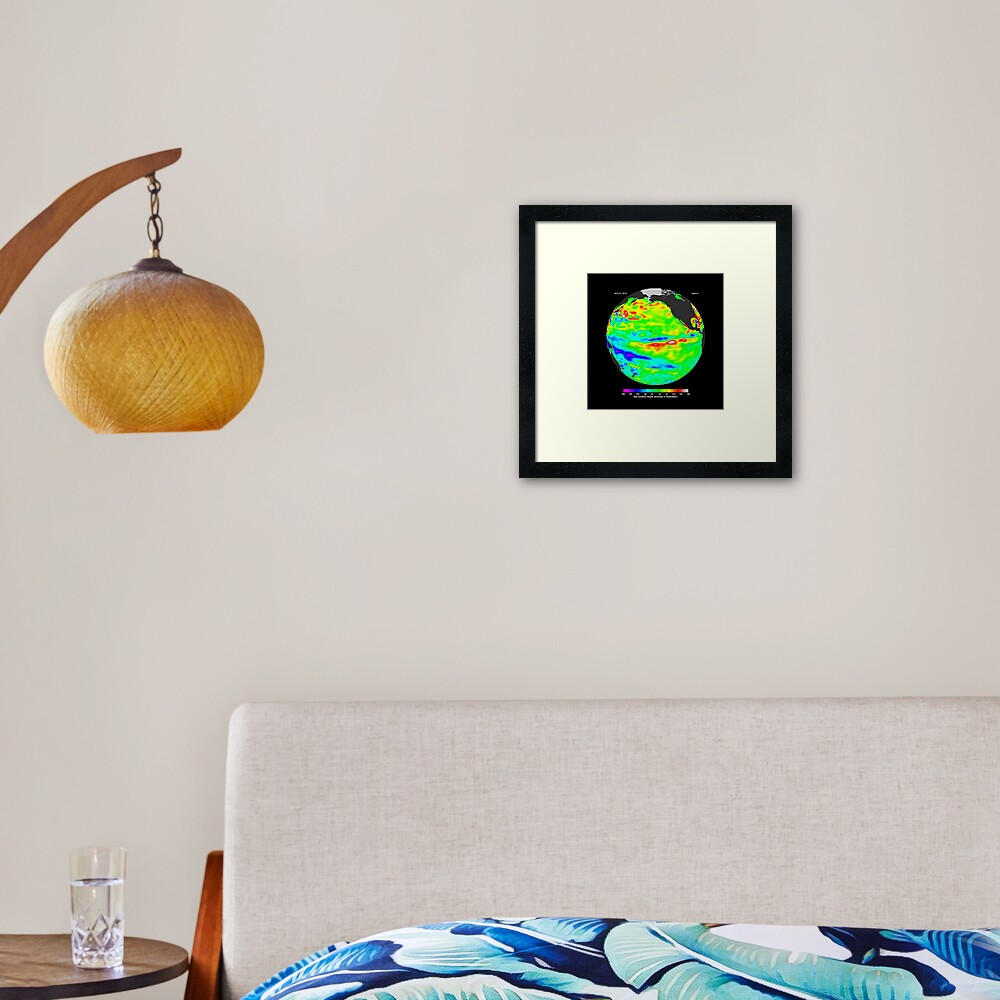 Image of sea surface heights in the Pacific Ocean from NASA's Jason-2 satellite Framed Art Print