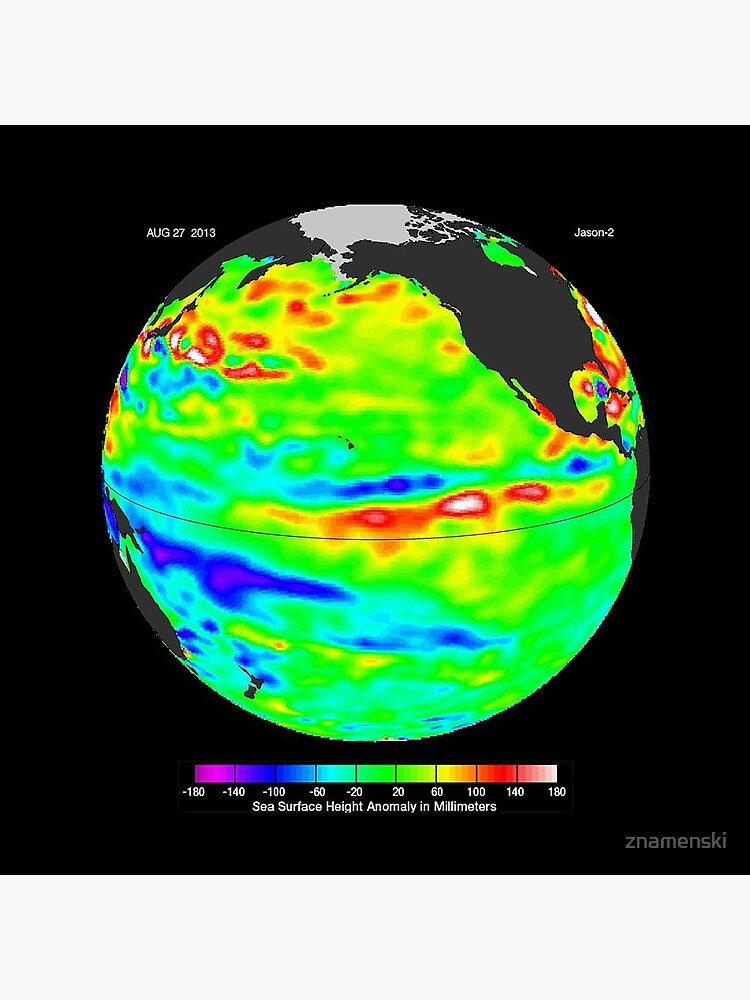 Image of sea surface heights in the Pacific Ocean from NASA's Jason-2 satellite by znamenski
