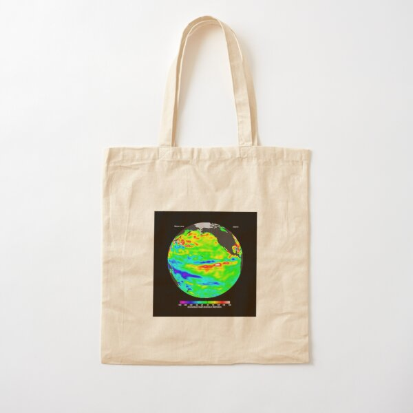 Image of sea surface heights in the Pacific Ocean from NASA's Jason-2 satellite Cotton Tote Bag