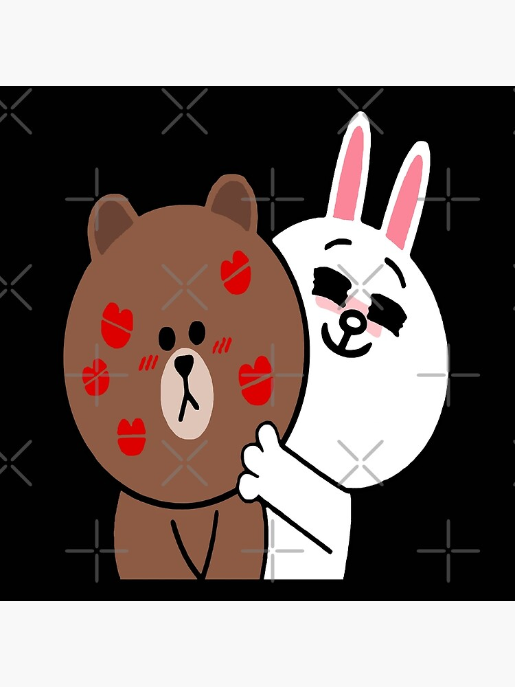 Brown bear cony bunny rabbit showered with kisses by tommytbird