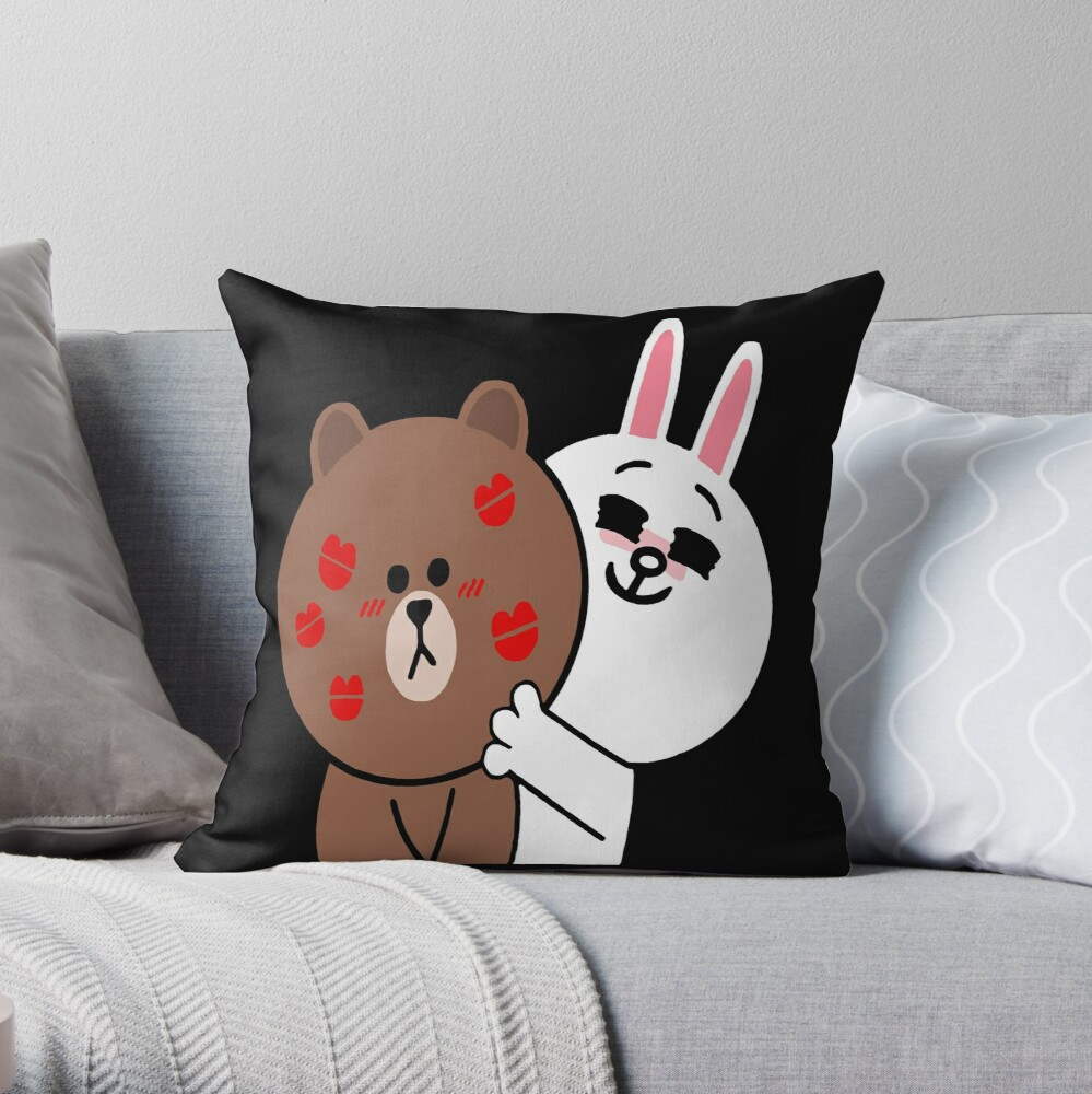 Brown bear cony bunny rabbit showered with kisses Throw Pillow