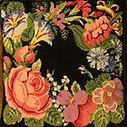 "Flowers on black petit point pillow by Christine ""Xine"" Segalas"