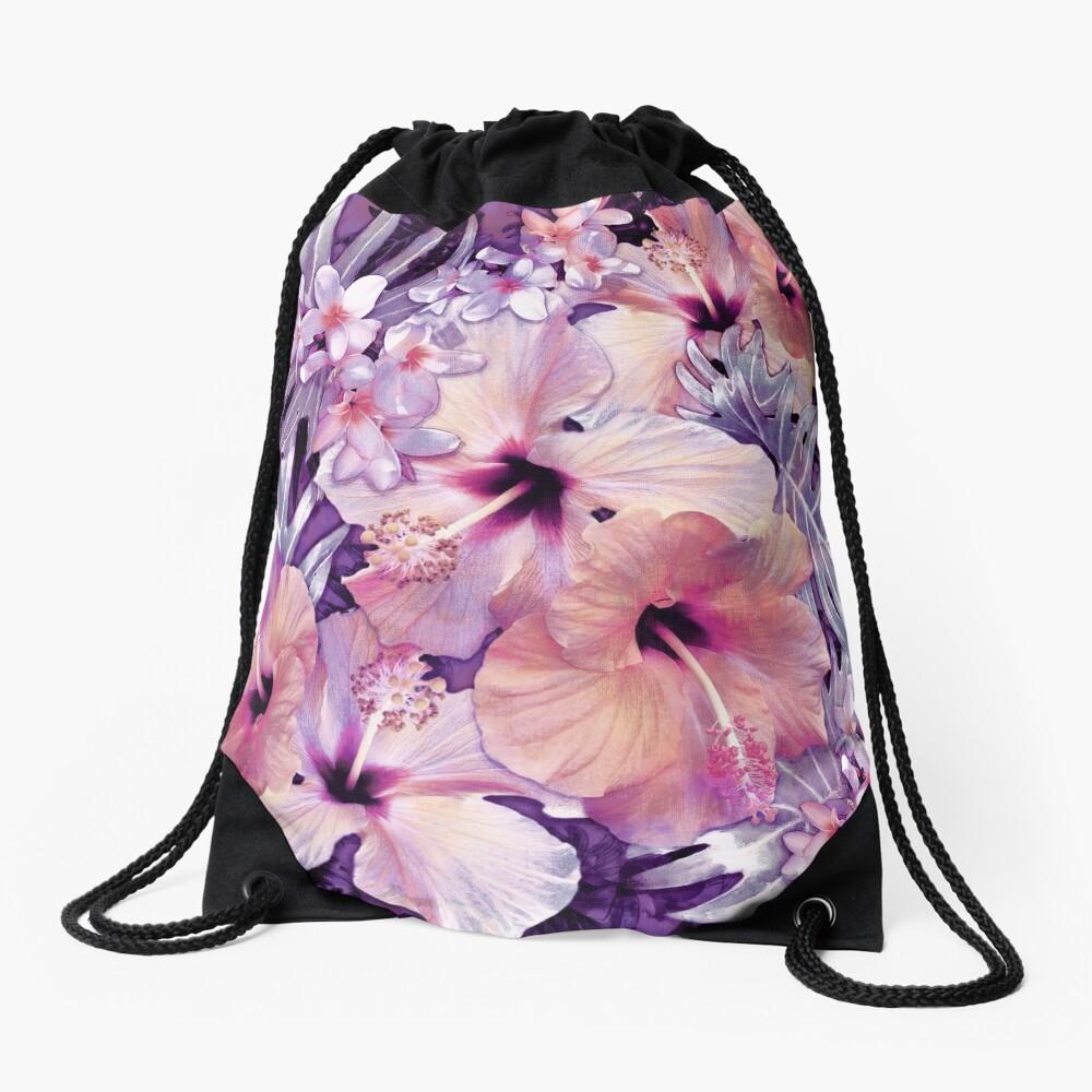 Violet Vintage Tropical Drawstring Bag