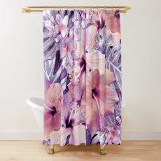 Violet Vintage Tropical Shower Curtain