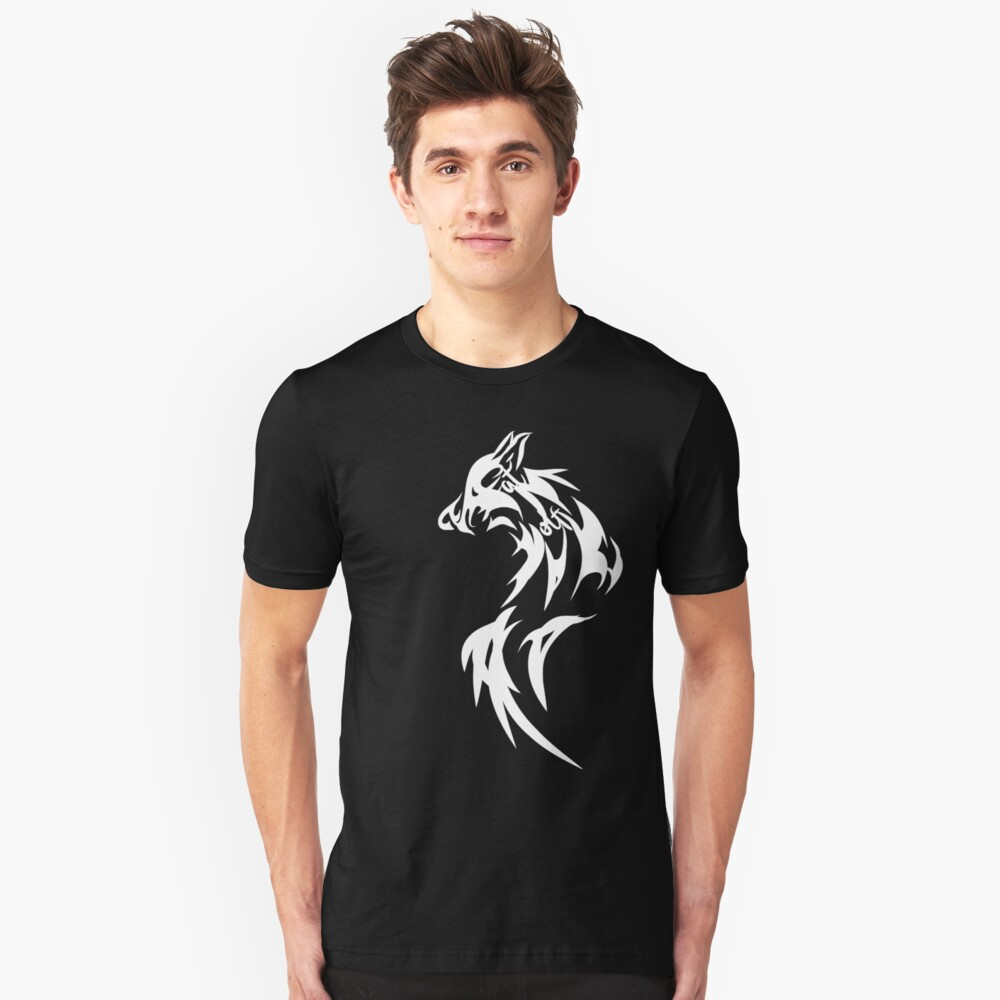Fat Wolf - Wolf Tail White Slim Fit T-Shirt