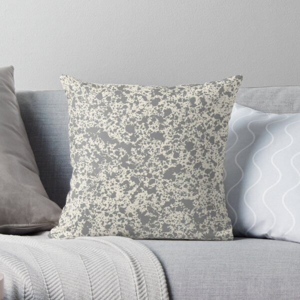 Cream and Gray Speckled Throw Pillow
