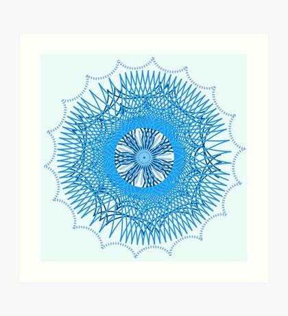 Blue Spirograph Art Print