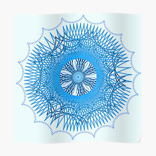 Blue Spirograph Poster