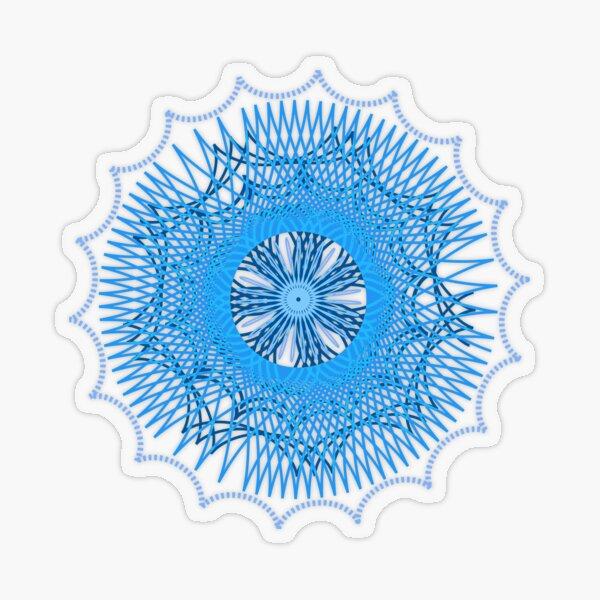 Blue Spirograph Transparent Sticker