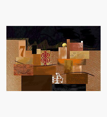 """Orange 7"" - Abstract structure on dark background. Photographic Print"