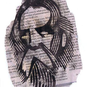 Newspaper Block Print by quakerninja