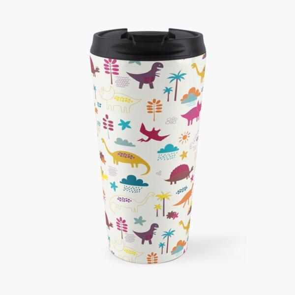 Dinosaur Land - Sunshine Brights - cute Dino pattern by Cecca Designs Travel Mug