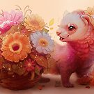 Ferret with Bouquet  by puffygator