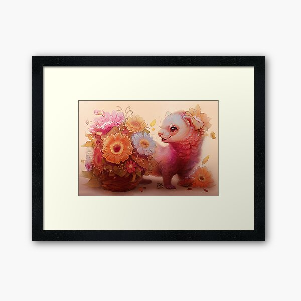 Ferret with Bouquet  Framed Art Print