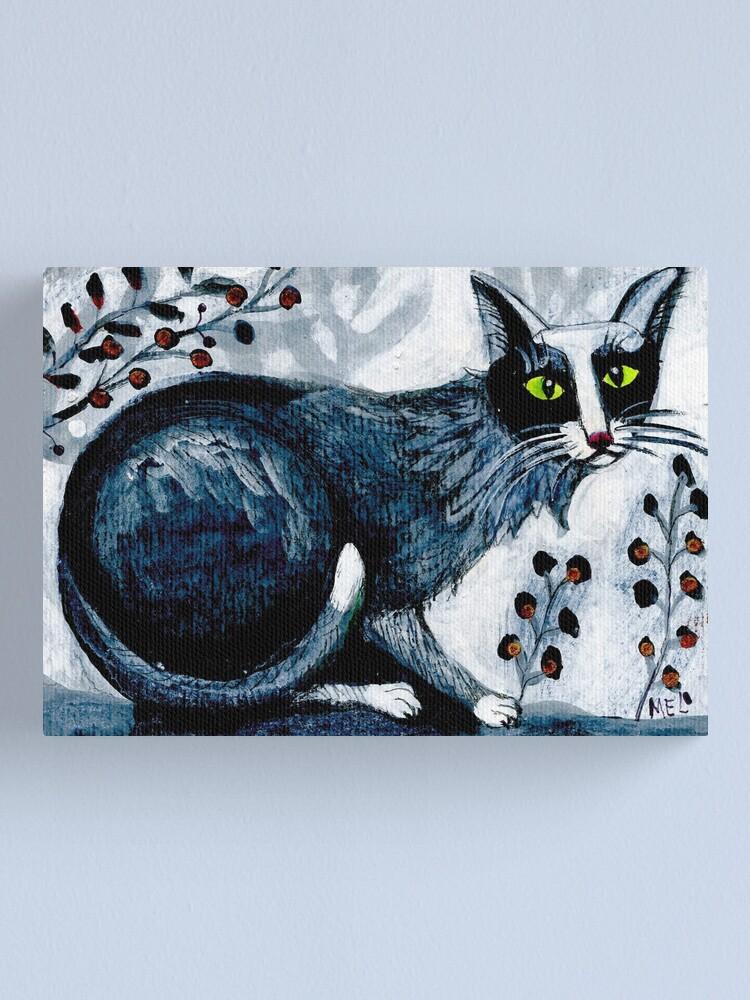 Alternate view of Tuxedo  cat, black cat, pet portrait, cute pets, cat art Canvas Print