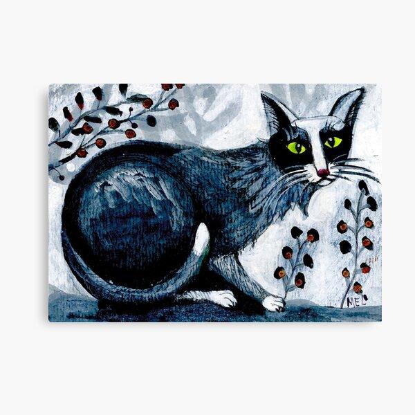 Tuxedo  cat, black cat, pet portrait, cute pets, cat art Canvas Print