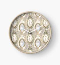 White Quartz & Gold Elegant Pattern Clock