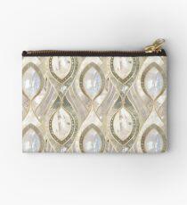 White Quartz & Gold Elegant Pattern Zipper Pouch