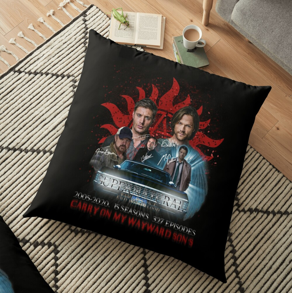 Limited Edition Supernatural Family dont end with Blood 4R Signed Floor Pillow