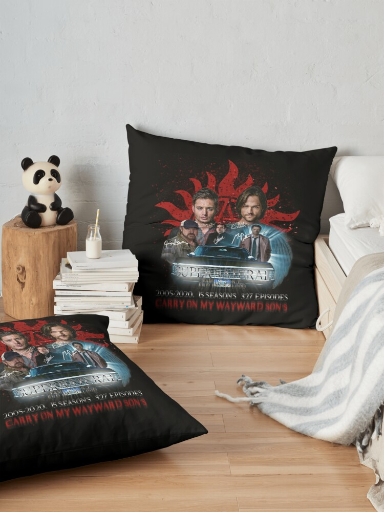 Alternate view of Limited Edition Supernatural Family dont end with Blood 4R Signed Floor Pillow