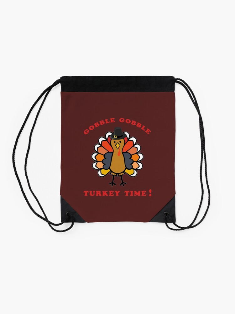 Alternate view of Turkey Time, Fall Colors, Harvest, Thanksgiving. Drawstring Bag