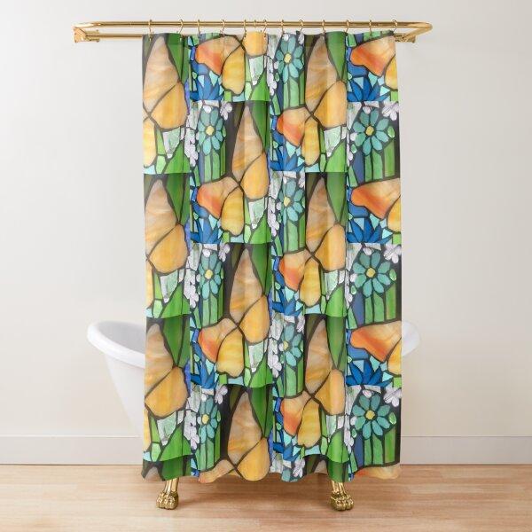 Golden Butterfly Shower Curtain