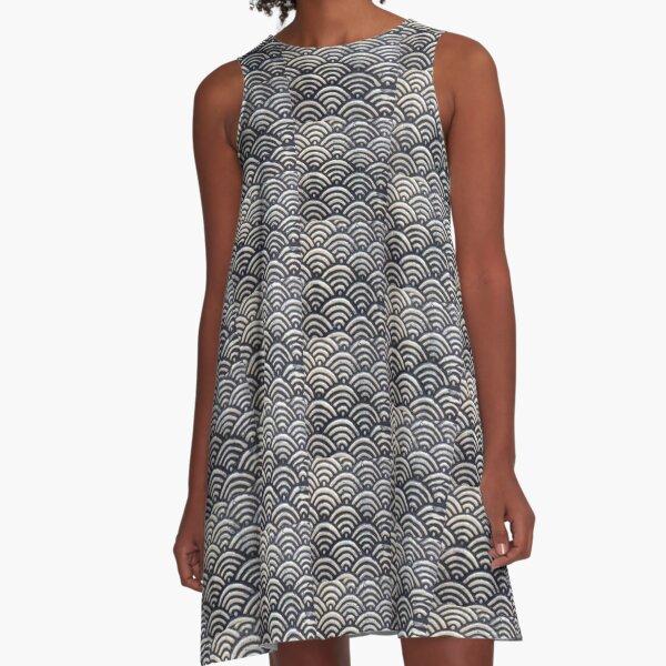 Indigo Waves A-Line Dress