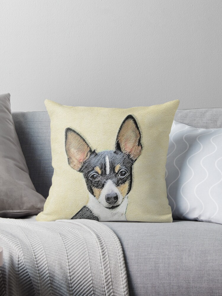 Toy Fox Terrier Throw Pillow By Alpendesigns Redbubble