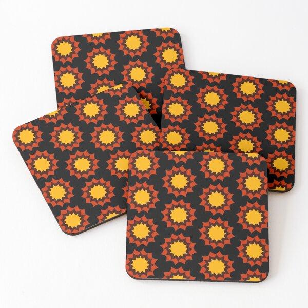 Autumn Starburst Maze Abstract Pattern Coasters (Set of 4)