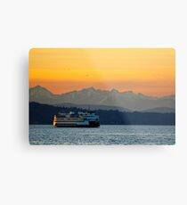 Sunset over Olympic Mountains Metal Print