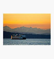 Sunset over Olympic Mountains Photographic Print