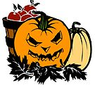 Halloween Gift and Decor - Scary Pumpkin Harvest - All Hallows Eve Present by LJCM