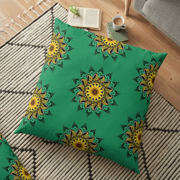 Sunflower Mandala Floor Pillow