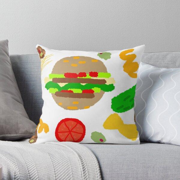 Burgers and macaroni Throw Pillow