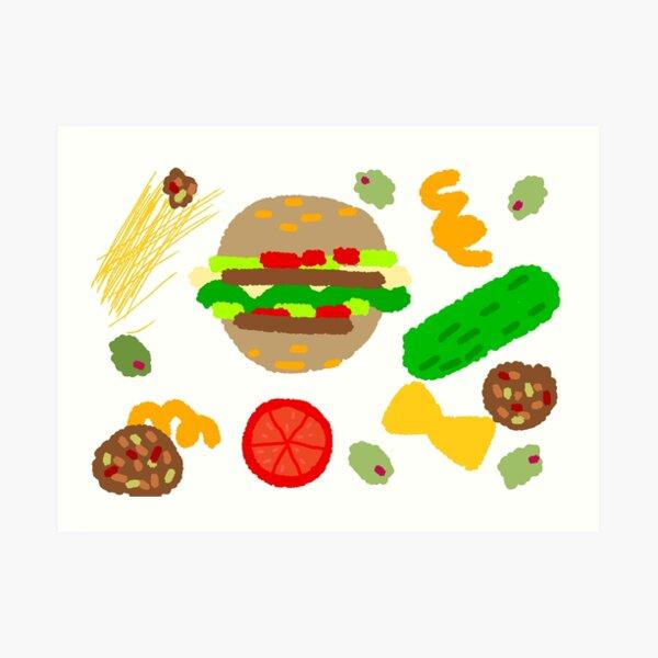 Burgers and macaroni Art Print