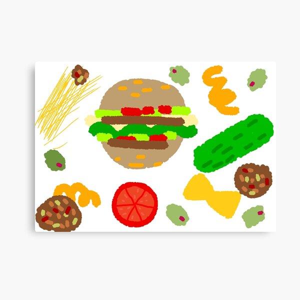 Burgers and macaroni Canvas Print