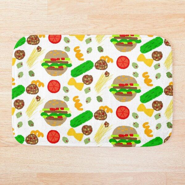 Burgers and macaroni Bath Mat