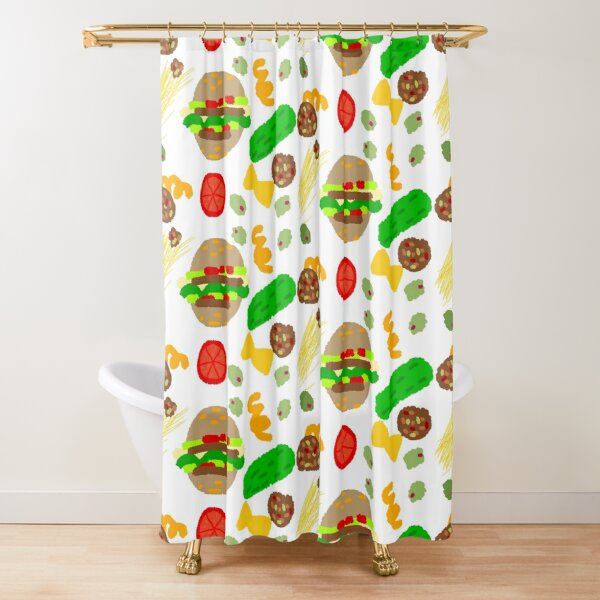 Burgers and macaroni Shower Curtain