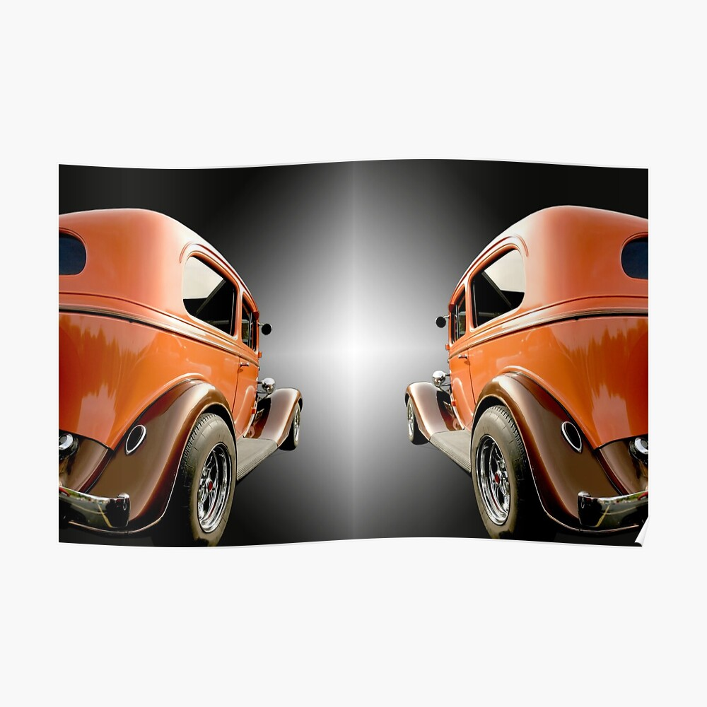 Two Classic Cars Poster