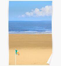 Irish flag waving on the beach Poster