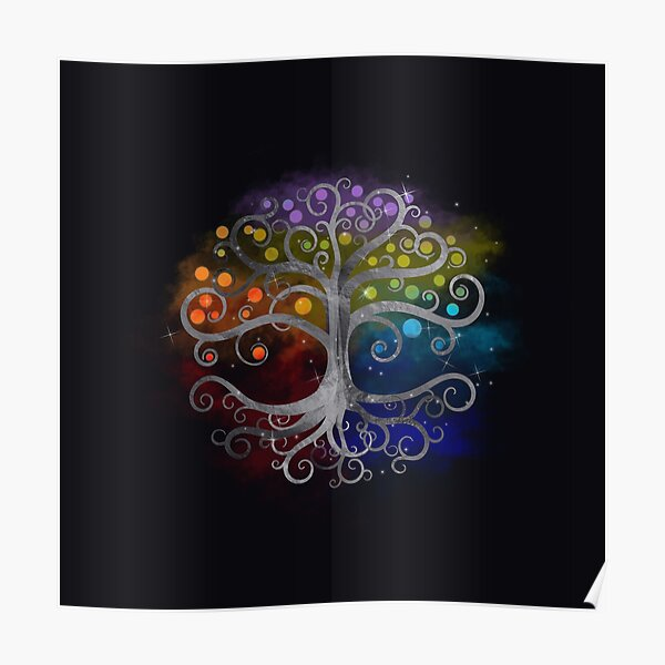 Tree of life Silver Swirl  Poster