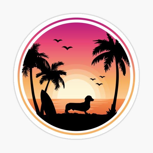 Dachshund at Beach Sticker
