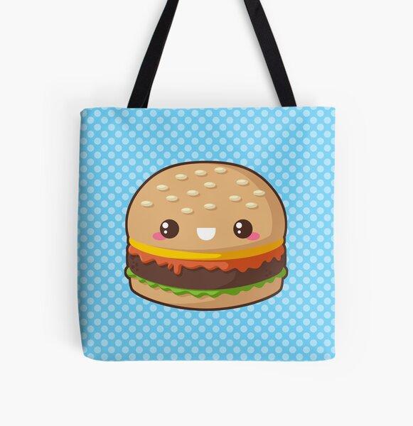 Kawaii Cheeseburger All Over Print Tote Bag