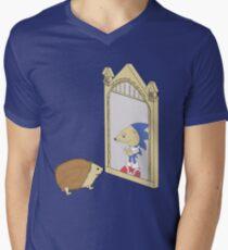 Hedgehog sees Sonic in Mirror of Erised (Harry Potter) Mens V-Neck T-Shirt
