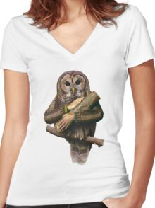The owls are not what they seem Women's Fitted V-Neck T-Shirt