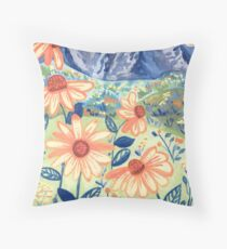 Daisy Gouache Mountain Landscape  Throw Pillow