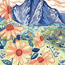 Gänseblümchen-Gouache-Berglandschaft von TigaTiga